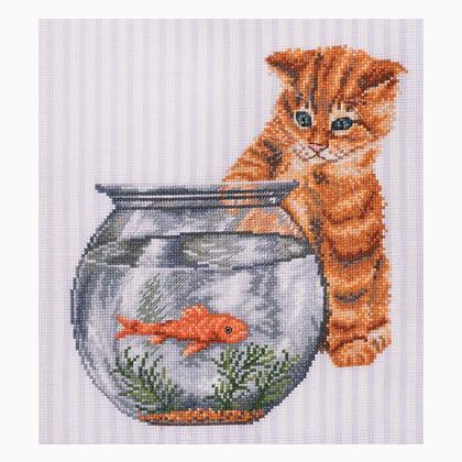 Gatto E Pesce Rosso Da Dmc Gatti E Cuccioli Kit Punto Croce Kit