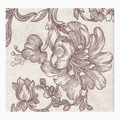 stoffa stampata persanne marrone da nature lin et cie au lin d 39 acb cotoni americani fantasia. Black Bedroom Furniture Sets. Home Design Ideas