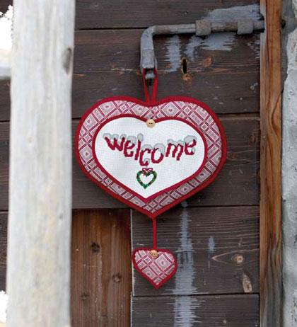 Decorazione per porta cuore da dmc per la casa - Cuore da appendere alla porta ...