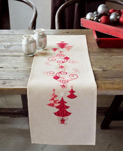 Centrotavola Natalizi A Punto Croce.Striscia Decorazioni Rosse Di Natale