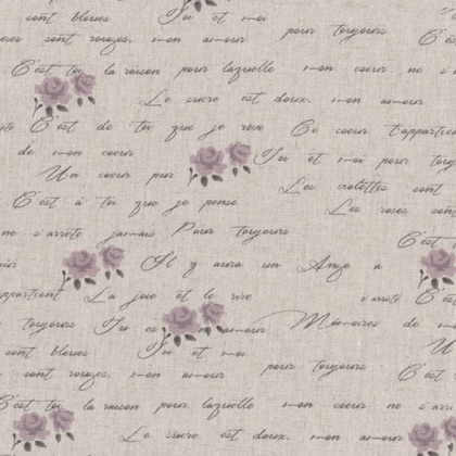 shabby chic words lavender roses 50x150cm da stof arredamento tessuti stoffe bordi casa. Black Bedroom Furniture Sets. Home Design Ideas
