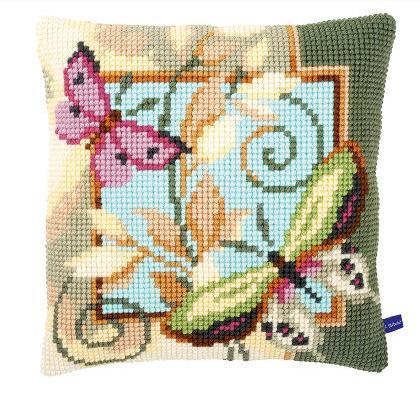 Cuscino farfalle 2 da vervaco cuscini kit punto for Punto croce farfalle