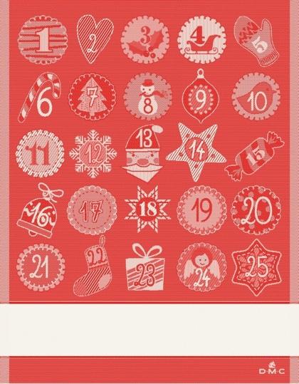 Calendario Dellavvento Punto Croce.Asciugapiatti Calendario Dell Avvento Rosso