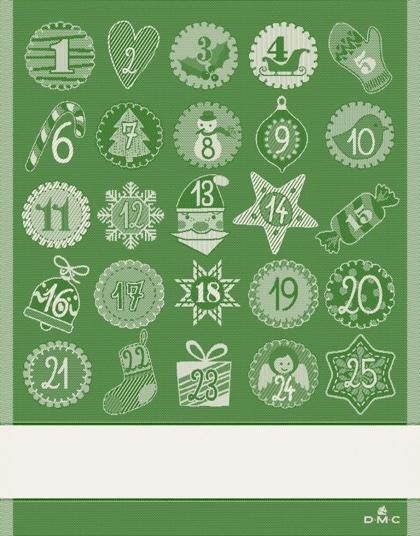 Calendario Dellavvento Punto Croce.Asciugapiatti Calendario Dell Avvento Verde