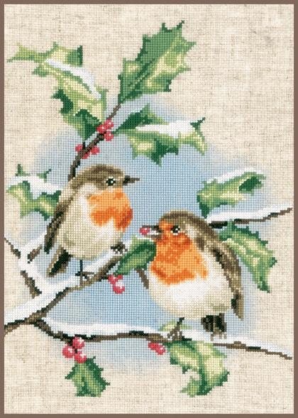 Piccolo Schemi Punto Croce Natale.Pettirossi In Inverno Da Vervaco Natale Kit Punto Croce Kit Casa Cenina